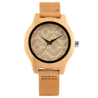 Casual Bamboo Wooden Quartz Wrist Watch for Women Girl Bracelet Leather Strap