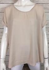 Pleione Semi Sheer Scoop Neck Shirt Blouse Short Sleeve Nude Beige Sz M NWT