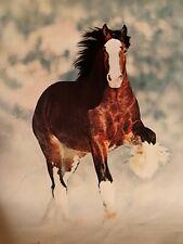 Vintage 1983 Bud Light Beer Clydesdale Poster Anheuser Busch USA Horse Budweiser