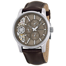Fossil Multi-function Taupe Cut Away Dial Brown Leather Mens Watch ME1098