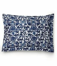 Ralph Lauren Dorsey Standard Pillow Sham Blue White Floral Cotton Sateen Nwt