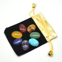 7 Chakra Stones Set Reiki Engraved Healing Quartz Crystal Worry Gemstone Flat