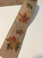 "Burlap Autumn Fall Multi Colored Leaves WIRE EDGED RIBBON 2-1/2"" x 5 Yards"