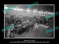 OLD POSTCARD SIZE PHOTO OF MELBOURNE VIC THE DKW MOTORCYCLE SHOW STAND c1955