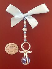 pram charms,baby boy,silver plated dummy, swarovski crystals, boxed,