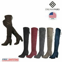 DREAM PAIRS Women's Over The Knee Boots Chunky Boots Lace Up Block Heel Boots