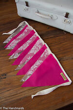 2m Bunting Flags Hot Pink & Lace - Party Wedding Child Bedroom Decor Stocking