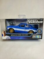 Jada Metals Diecast The Fast And Furious Brians Ford Escort 1:32 Blue Silver New