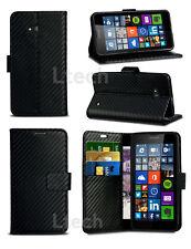 Samsung Galaxy A3 SM-A300FU - Carbon Fibre Effect Flip Wallet Book Case Cover