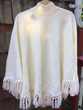 NWOT Knit Essentials Womans Cream Poncho One Size