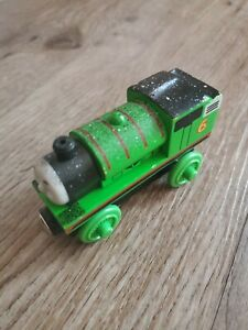 Thomas & Friends Wooden Railway 2003 Ash Covered Percy Wooden Train EUC green