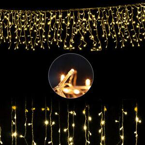 400 LED Lichterkette 8 Modi Regen Eisregen warmweiß Weihnachtsbeleuchtung Außen