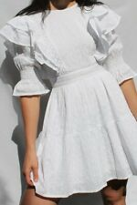 Neon Rose Dress Size XS 8 White Cotton Frill Detail Dress Broderie New EX69