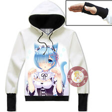 Anime Re:Zero Rem Pullover Jacket Cosplay Hoodie Unisex Coat M-3XL#16-DY96