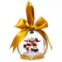 Disney Parks Store Mickey & Minnie Mouse Glass Globe Holiday Ornament Kissing