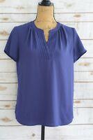 Halogen - Indigo PURPLE semi-sheer CHIFFON short sleeve V-neck blouse, size S