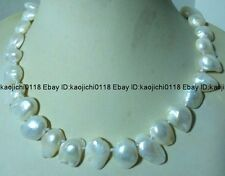 "NATURAL 18"" 8x12mm WHITE BAROQUE KESHI REBORN PEARL NECKLACE"