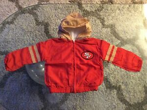 San Francisco 49ers Red Windbreaker Jacket with Hoodie Youth Toddler 4T Vintage
