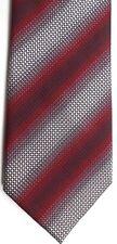 """Kenneth Cole Men's Silk Tie 58"""" X 4"""" Multi-Color (Red/Silver) British Striped"""