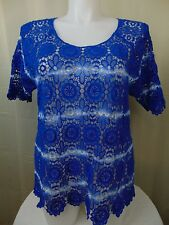 INC International Concepts Plus Size Blue Tie Dye Crochet Top Floral 1X #633