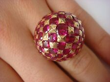 STUNNING UNIQUE 18K YELLOW GOLD LARGE-DOME LADIES RUBY RING 15.6 GRAMS SIZE 5.5