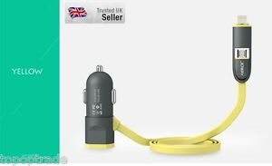 LED light 5v/2.4A Car Charger for Apple and Android with extra USB Slot Yellow