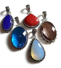 Wholesale Lot 5 PCs. OPALITE & CORAL Gemstone 925 Sterling Silver Plated Pendant