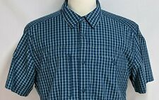Patagonia Mens L Blue Yellow Striped Nylon Short Sleeve Vented Hiking Button Top