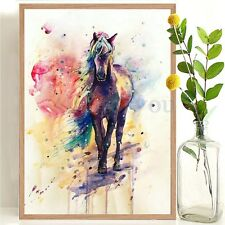 Watercolour Horse Canvas Painting Poster Modern Wall Art Home Decor Unframed