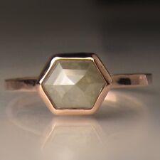 14k solid Gold ring natural rose cut diamond ring wedding ring geometric DER408