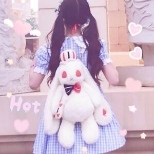 Girl's Lolita Rabbit Plush Backpack Animal Stuffed Doll Shoulder Bag Full Set