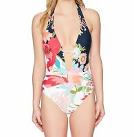 Trina Turk Blue Womens 6 Plunge Keyhole Floral One-Piece Swimsuit $152 205