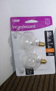 2 Feit 20 Watt 20W G12-1/2 Clear Incandescent E12 Candelabra Light Bulb G12.5