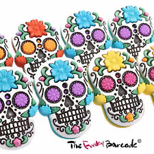 TFB - SUGAR SKULL FLOWER STUD EARRINGS Quirky Rock Girls Gift Novelty Retro Cool
