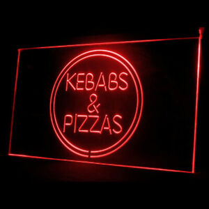110082 Kebabs Pizzas Burger Pepperoni Texture Display LED Light Neon Sign