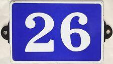 Old blue French house number 26 door gate plate plaque enamel metal sign steel