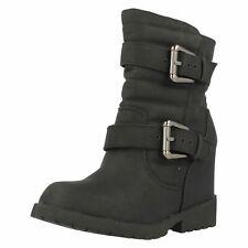 Spot On F5R0333 Ladies Block Heel Boots Black or Brown  (R6A)