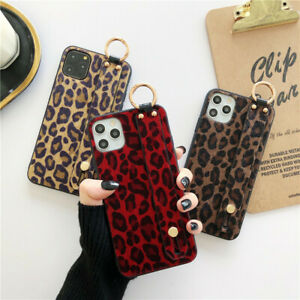 Leopard Print Wristband Phone Cover Case For iPhone 12 13 7 8+ 11 Pro XS Max XR