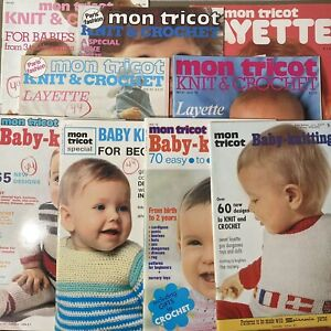 Lot of 9 Vintage Mon Tricot Magazines Layette Baby Toddler Knit Crochet 70s 80s