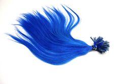 20 Remy Echthaar Strähnen Haarverlängerung 35cm blau Hairextensions glatt blue