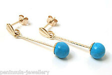 9ct Gold Turquoise ball drop Earrings Made in UK Gift Boxed Gift