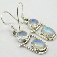 "RAINBOW MOONSTONE Earrings ! 925 Sterling Silver 2 CUT Gem TRENDY Jewlery 1.5"""