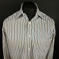 HUGO BOSS Mens Shirt Cufflinks 39 15.5 (LARGE) Long Sleeve White Striped
