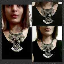 Vintage Statement Chunky Fashion Necklace in Silver Plated Black & Stone Pearls