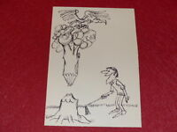 "[Comic Zeichnung Humor Presse] Metall / Original ""Holzfäller "" Ca 1960 26x19"