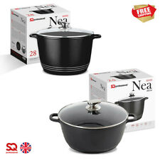 Deep Non Stick Stockpot Casserole Oven Dish Cooking Pot Pan with Lid - Induction