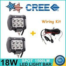 "2X 4"" 18W CREE LED Work Light Bar Spot Off-road Driving Fog Lamp SUV+ Wiring Kit"