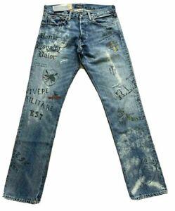 Polo Ralph Lauren The Varick Slim Straight Varsity Graffiti Jeans SZ 32x32 RARE