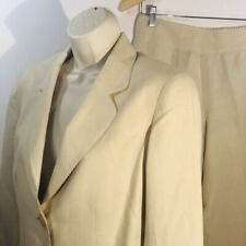 Jones New York 2Pc Pant Suits Set Sz6 Linen Beige Crochet Edges Fully Lined