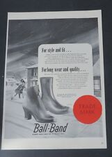 Original Print Ad 1946 BALL-BAND Vintage Art Winter